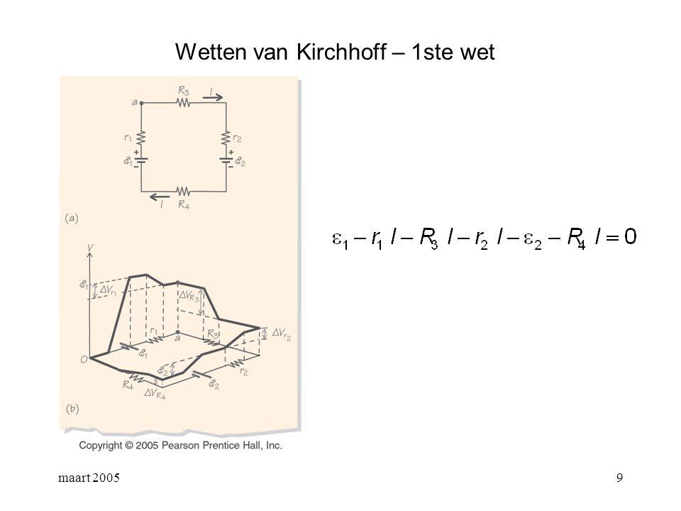 maart 200510 Wetten van Kirchhoff – 2de wet zie slide 10 H26 continuiteitsvergelijking