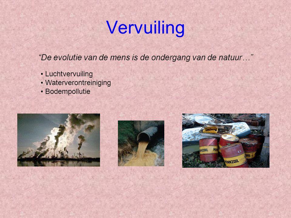 Vervuiling De evolutie van de mens is de ondergang van de natuur… Luchtvervuiling Waterverontreiniging Bodempollutie
