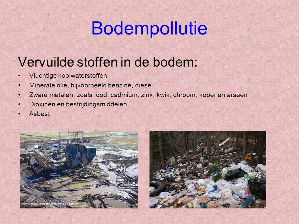 Bodempollutie Vervuilde stoffen in de bodem: Vluchtige koolwaterstoffen Minerale olie, bijvoorbeeld benzine, diesel Zware metalen, zoals lood, cadmium, zink, kwik, chroom, koper en arseen Dioxinen en bestrijdingsmiddelen Asbest