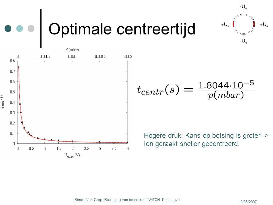 16/05/2007 Simon Van Gorp: Beweging van ionen in de WITCH Penningval Optimale centreertijd Hogere druk: Kans op botsing is groter -> Ion geraakt snell