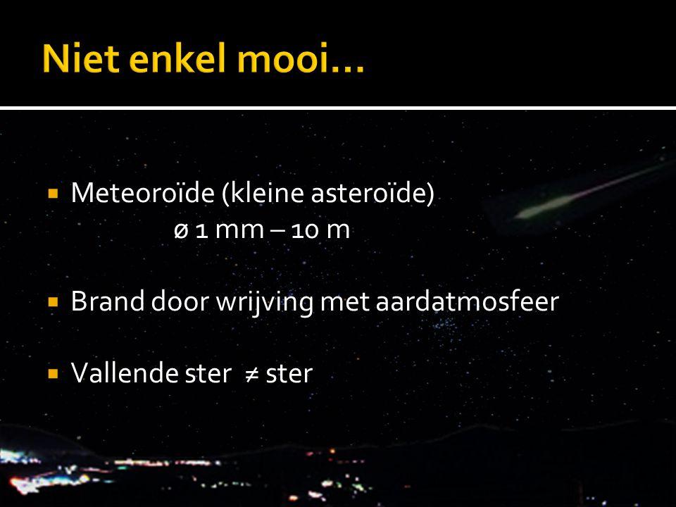  Meteoroïde (kleine asteroïde) ø 1 mm – 10 m  Brand door wrijving met aardatmosfeer  Vallende ster ≠ ster