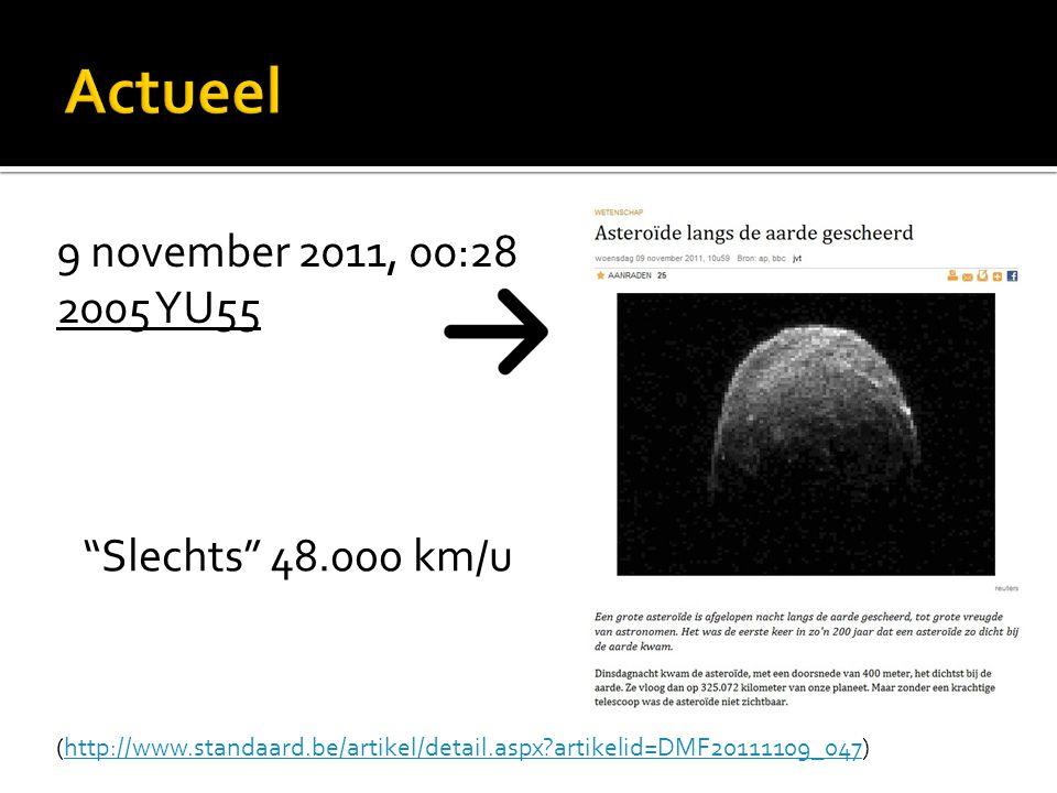 9 november 2011, 00:28 2005 YU55 Slechts 48.000 km/u (http://www.standaard.be/artikel/detail.aspx?artikelid=DMF20111109_047)http://www.standaard.be/artikel/detail.aspx?artikelid=DMF20111109_047