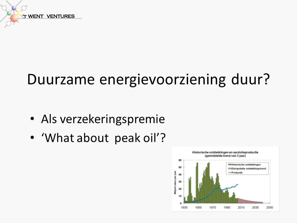 Duurzame energievoorziening duur Als verzekeringspremie 'What about peak oil'