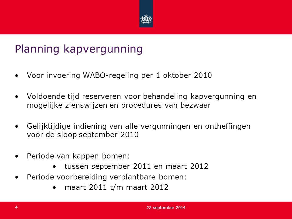 4 22 september 2014 Planning kapvergunning Voor invoering WABO-regeling per 1 oktober 2010 Voldoende tijd reserveren voor behandeling kapvergunning en