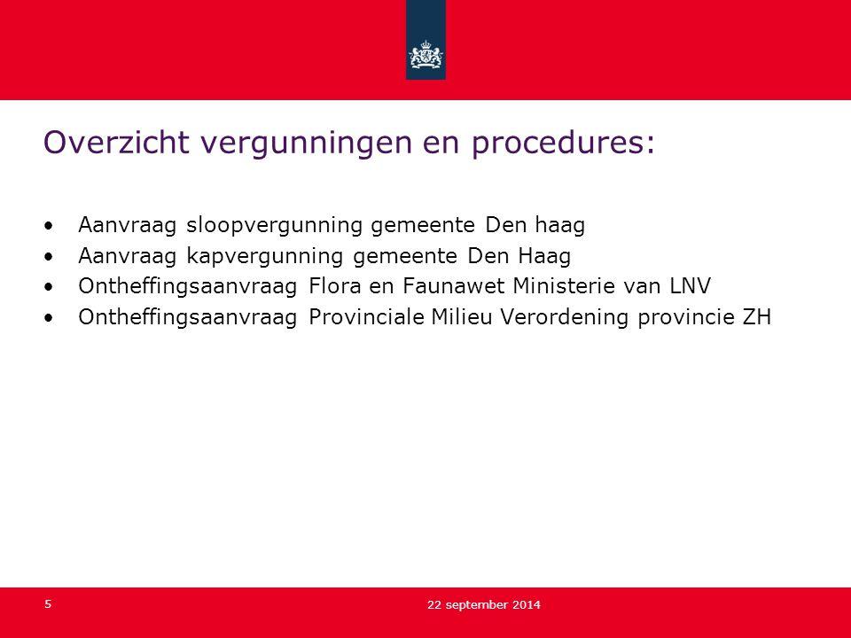 5 22 september 2014 Overzicht vergunningen en procedures: Aanvraag sloopvergunning gemeente Den haag Aanvraag kapvergunning gemeente Den Haag Ontheffi