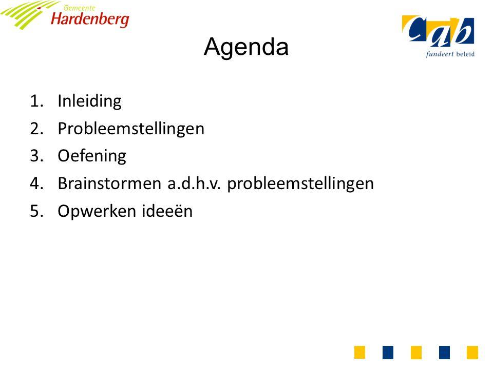 Agenda 1.Inleiding 2.Probleemstellingen 3.Oefening 4.Brainstormen a.d.h.v.