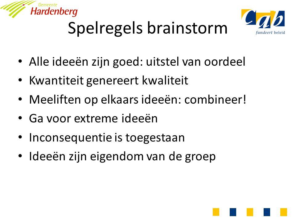 Spelregels brainstorm Alle ideeën zijn goed: uitstel van oordeel Kwantiteit genereert kwaliteit Meeliften op elkaars ideeën: combineer.