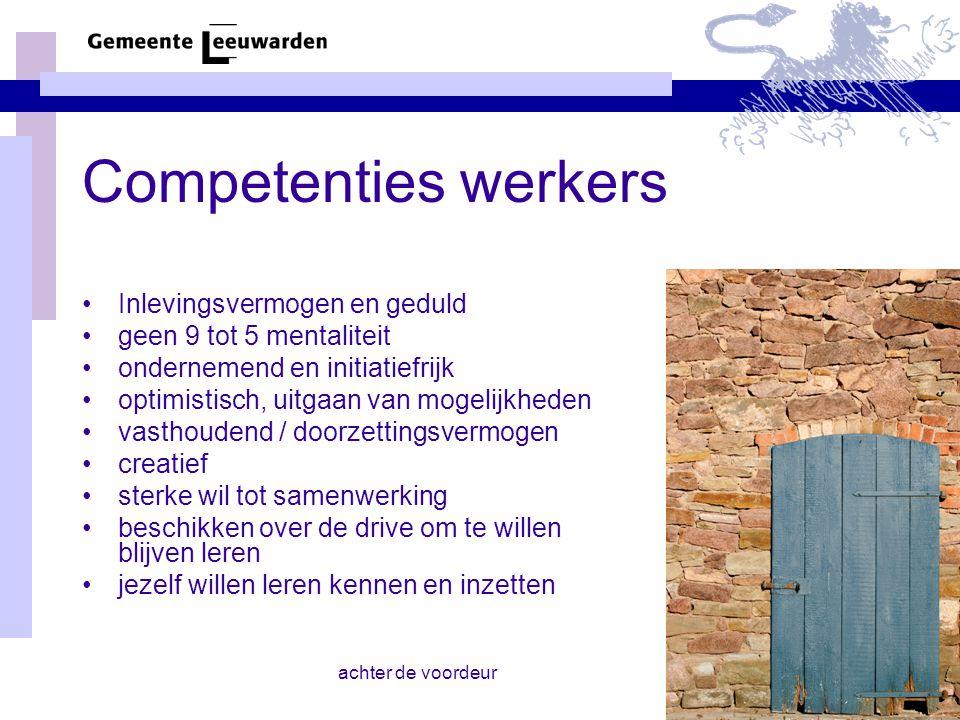 achter de voordeur Competenties werkers Inlevingsvermogen en geduld geen 9 tot 5 mentaliteit ondernemend en initiatiefrijk optimistisch, uitgaan van m