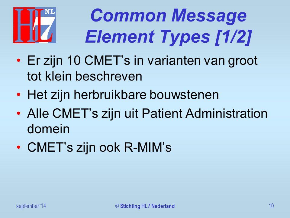 Common Message Element Types [1/2] Er zijn 10 CMET's in varianten van groot tot klein beschreven Het zijn herbruikbare bouwstenen Alle CMET's zijn uit