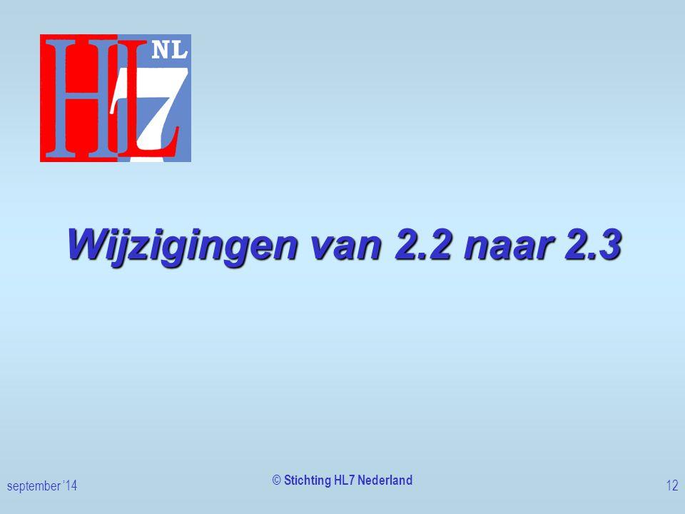 Wijzigingen van 2.2 naar 2.3 © Stichting HL7 Nederland september '1412