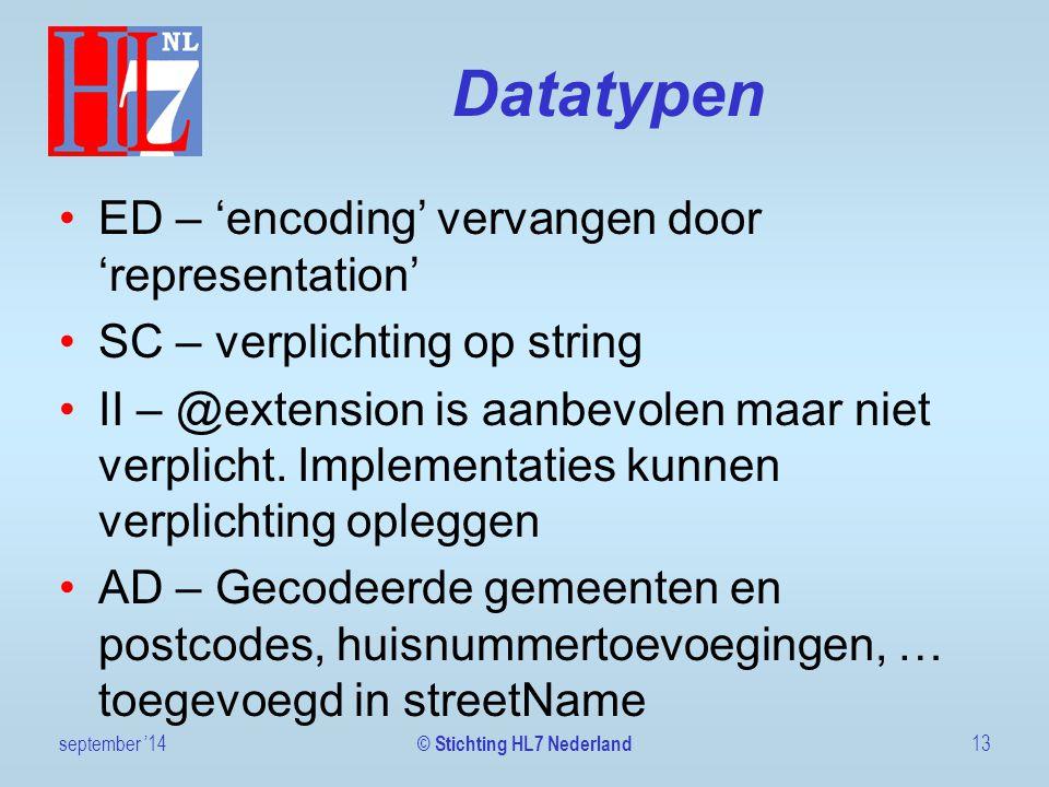 Datatypen ED – 'encoding' vervangen door 'representation' SC – verplichting op string II – @extension is aanbevolen maar niet verplicht. Implementatie