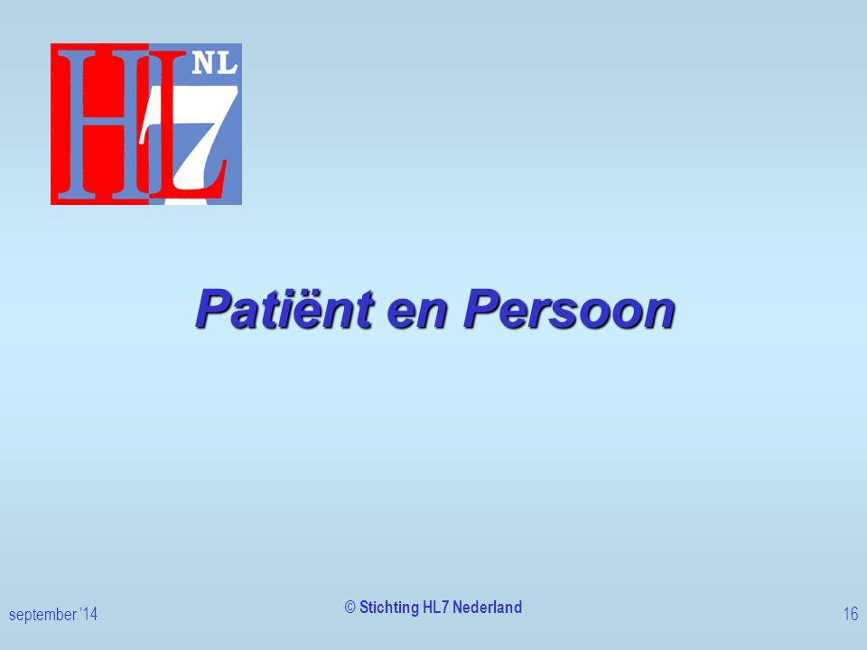 Patiënt en Persoon © Stichting HL7 Nederland september '1416