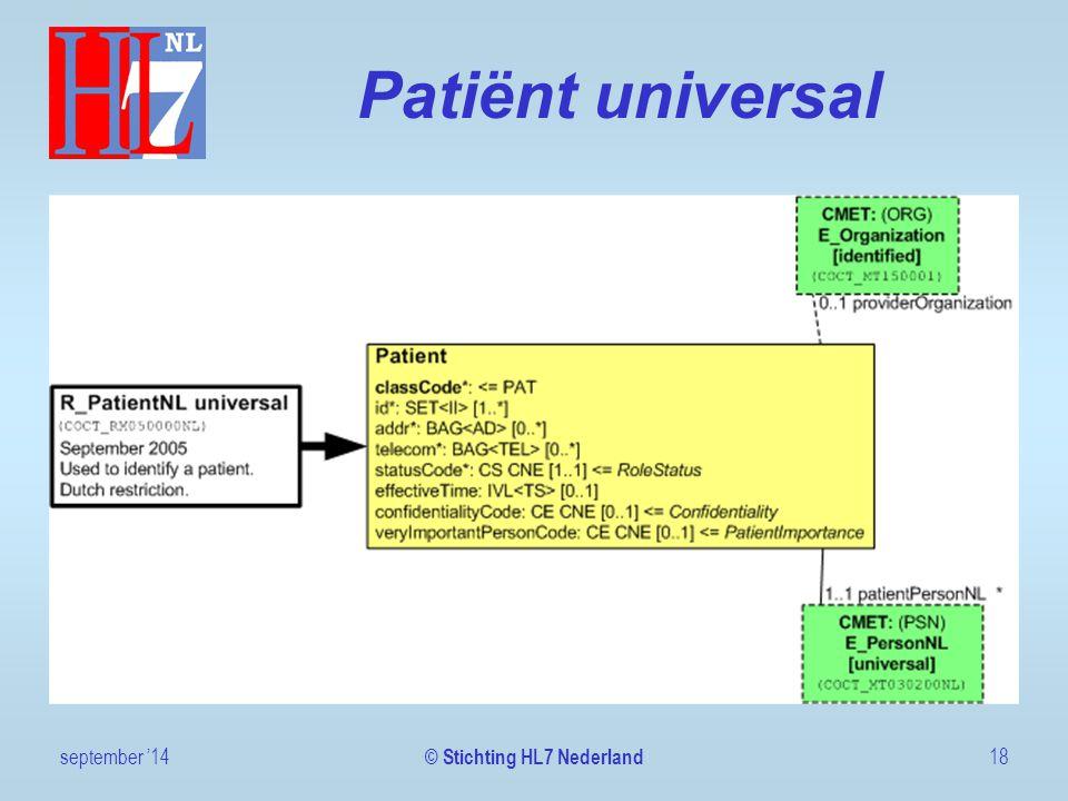 Patiënt universal september '1418 © Stichting HL7 Nederland
