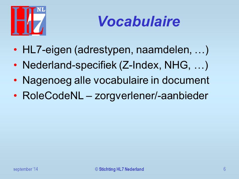 Patiënt identified september '1417 © Stichting HL7 Nederland