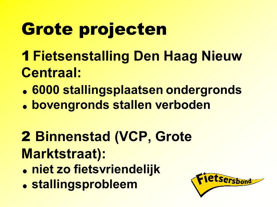 Grote projecten 1 Fietsenstalling Den Haag Nieuw Centraal:  6000 stallingsplaatsen ondergronds  bovengronds stallen verboden 2 Binnenstad (VCP, Grote Marktstraat):  niet zo fietsvriendelijk  stallingsprobleem