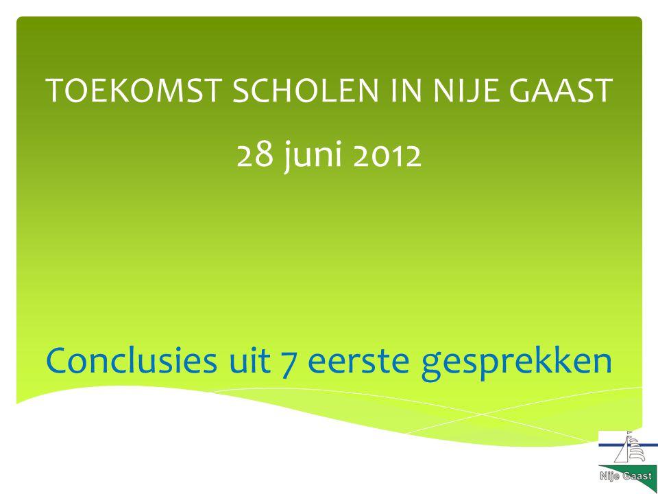 TOEKOMST SCHOLEN IN NIJE GAAST Conclusies uit 7 eerste gesprekken 28 juni 2012