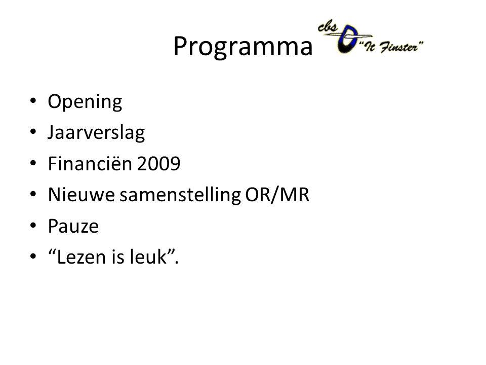 Programma Opening Jaarverslag Financiën 2009 Nieuwe samenstelling OR/MR Pauze Lezen is leuk .