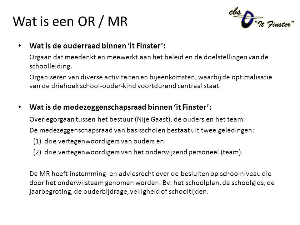 Wat is een OR / MR Wat is de ouderraad binnen 'it Finster': Orgaan dat meedenkt en meewerkt aan het beleid en de doelstellingen van de schoolleiding.