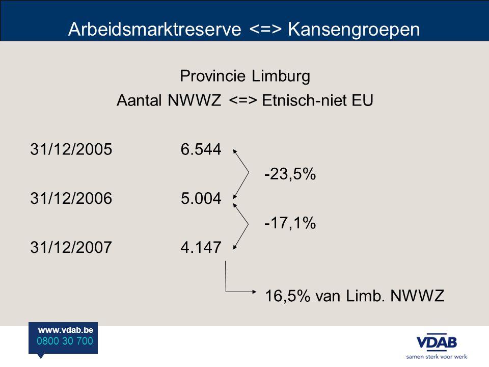 www.vdab.be 0800 30 700 Arbeidsmarktreserve Kansengroepen Provincie Limburg Aantal NWWZ Etnisch-niet EU 31/12/20056.544 -23,5% 31/12/20065.004 -17,1% 31/12/20074.147 16,5% van Limb.