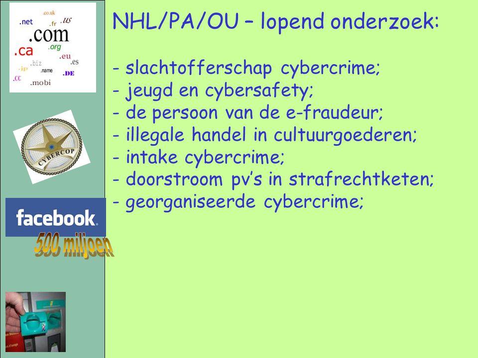 NHL/PA/OU – lopend onderzoek: - slachtofferschap cybercrime; - jeugd en cybersafety; - de persoon van de e-fraudeur; - illegale handel in cultuurgoederen; - intake cybercrime; - doorstroom pv's in strafrechtketen; - georganiseerde cybercrime;