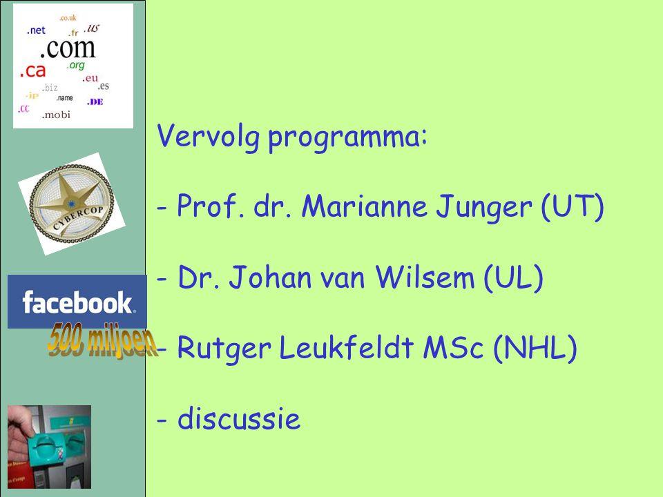 Vervolg programma: - Prof. dr. Marianne Junger (UT) - Dr. Johan van Wilsem (UL) - Rutger Leukfeldt MSc (NHL) - discussie