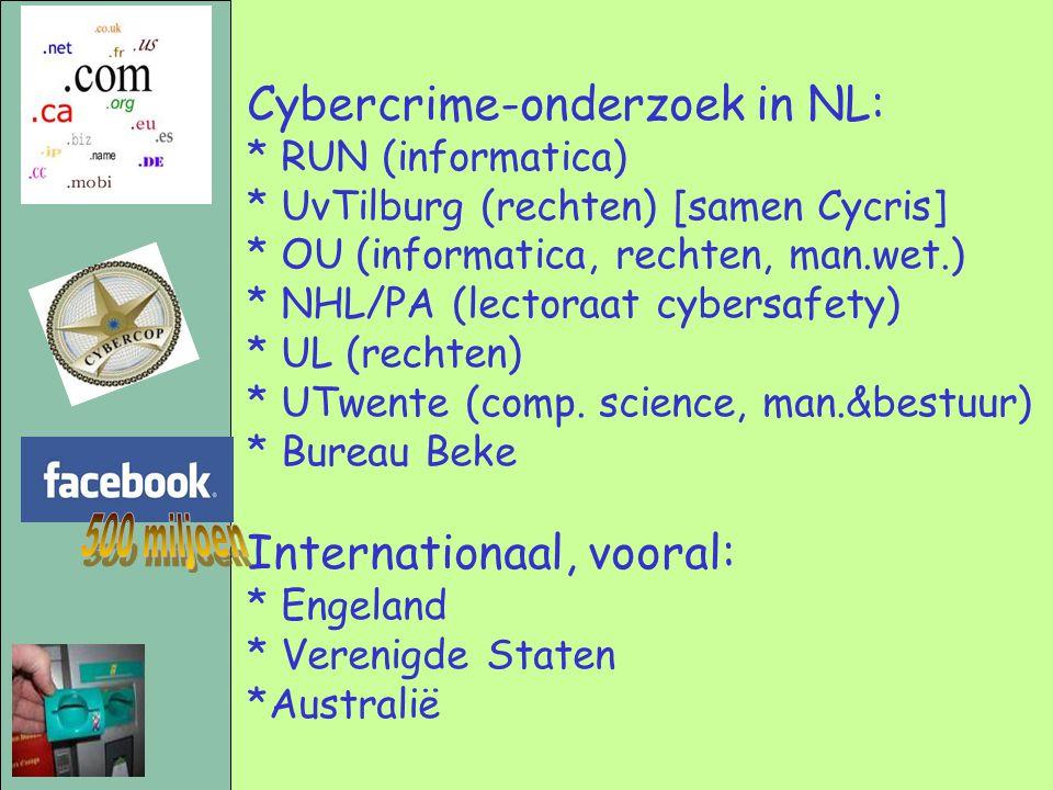 Cybercrime-onderzoek in NL: * RUN (informatica) * UvTilburg (rechten) [samen Cycris] * OU (informatica, rechten, man.wet.) * NHL/PA (lectoraat cybersa