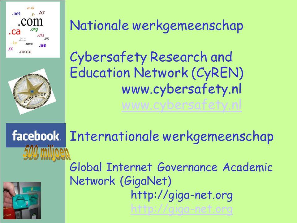 Nationale werkgemeenschap Cybersafety Research and Education Network (CyREN) www.cybersafety.nl Internationale werkgemeenschap Global Internet Governa