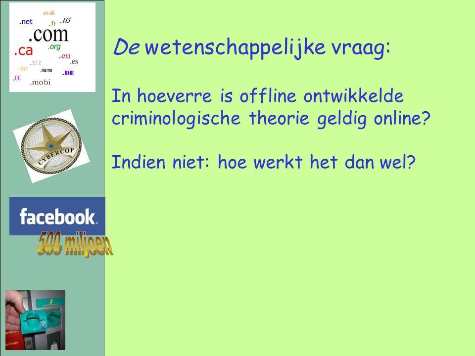 De wetenschappelijke vraag: In hoeverre is offline ontwikkelde criminologische theorie geldig online? Indien niet: hoe werkt het dan wel?