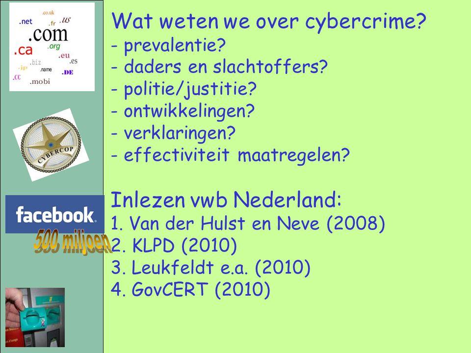 Wat weten we over cybercrime? - prevalentie? - daders en slachtoffers? - politie/justitie? - ontwikkelingen? - verklaringen? - effectiviteit maatregel