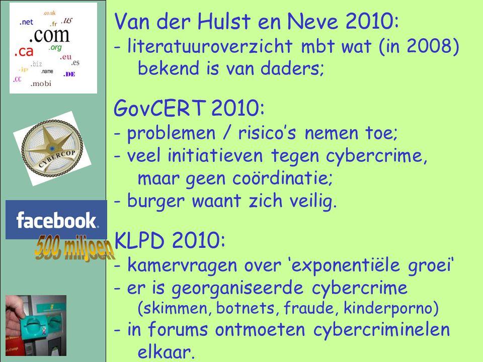 Van der Hulst en Neve 2010: - literatuuroverzicht mbt wat (in 2008) bekend is van daders; GovCERT 2010: - problemen / risico's nemen toe; - veel initi