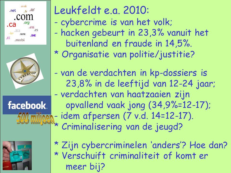 Leukfeldt e.a. 2010: - cybercrime is van het volk; - hacken gebeurt in 23,3% vanuit het buitenland en fraude in 14,5%. * Organisatie van politie/justi