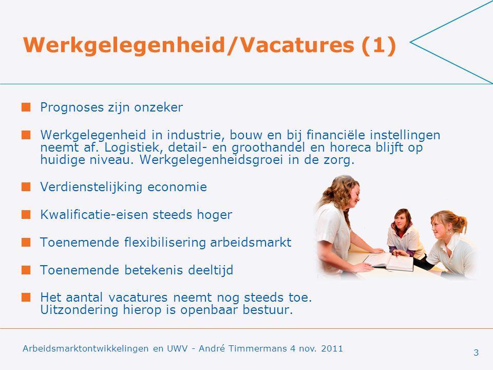 Werkgelegenheid/Vacatures (1) Prognoses zijn onzeker Werkgelegenheid in industrie, bouw en bij financiële instellingen neemt af.