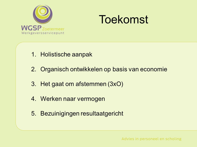 Type hier uw tekst 1.Holistische aanpak 2.Organisch ontwikkelen op basis van economie 3.Het gaat om afstemmen (3xO) 4.Werken naar vermogen 5.Bezuinigi