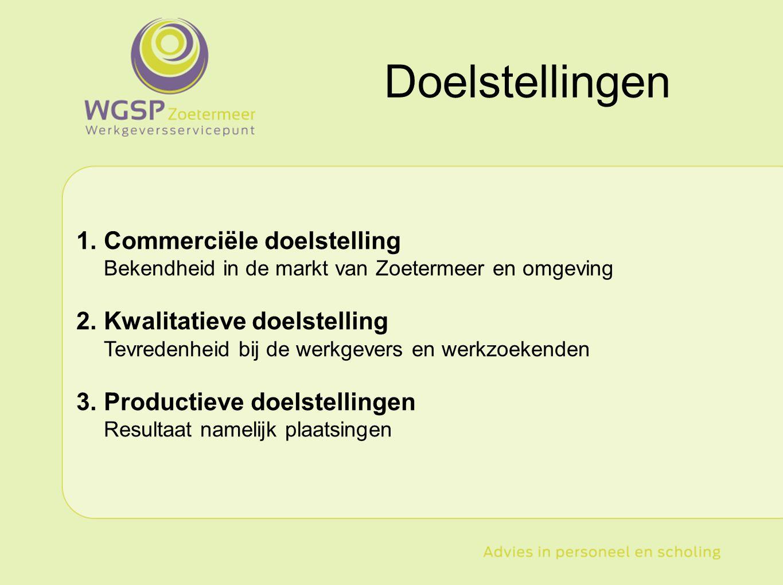 1.Commerciële doelstelling Bekendheid in de markt van Zoetermeer en omgeving 2.Kwalitatieve doelstelling Tevredenheid bij de werkgevers en werkzoekend