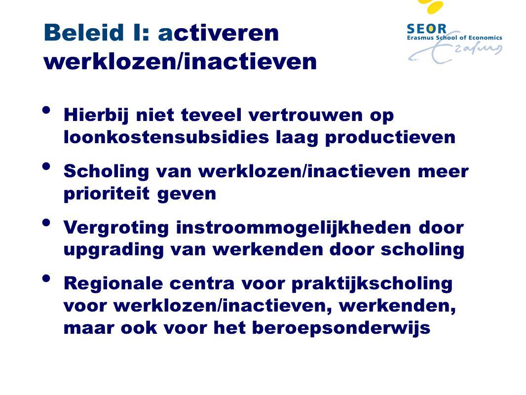 Beleid I: activeren werklozen/inactieven Hierbij niet teveel vertrouwen op loonkostensubsidies laag productieven Scholing van werklozen/inactieven mee