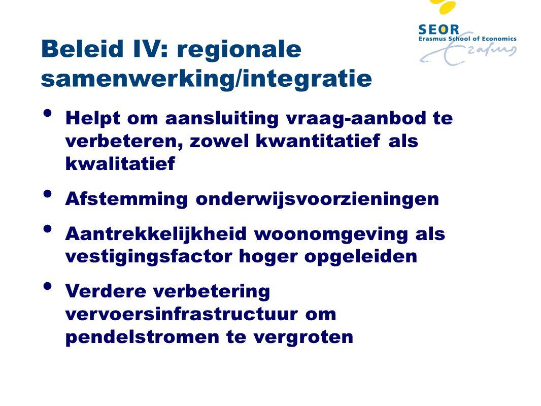 Beleid IV: regionale samenwerking/integratie Helpt om aansluiting vraag-aanbod te verbeteren, zowel kwantitatief als kwalitatief Afstemming onderwijsv