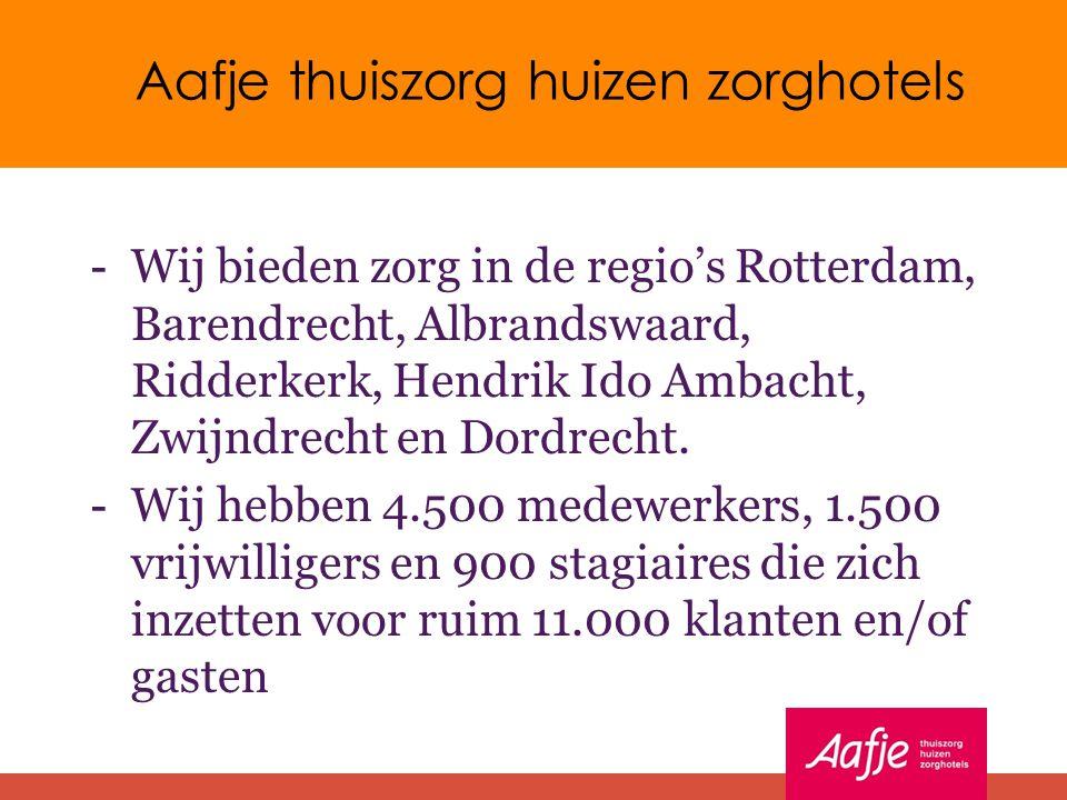 Aafje thuiszorg huizen zorghotels - Wij bieden zorg in de regio's Rotterdam, Barendrecht, Albrandswaard, Ridderkerk, Hendrik Ido Ambacht, Zwijndrecht en Dordrecht.