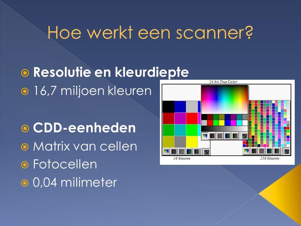  Resolutie en kleurdiepte  16,7 miljoen kleuren  CDD-eenheden  Matrix van cellen  Fotocellen  0,04 milimeter