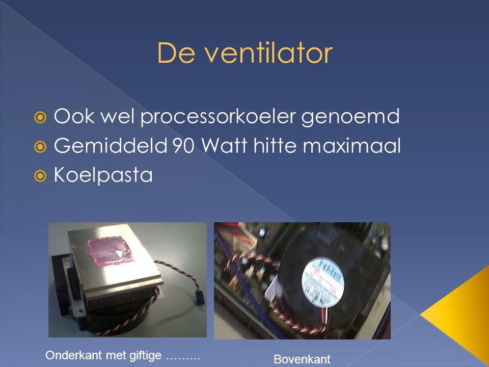  Ook wel processorkoeler genoemd  Gemiddeld 90 Watt hitte maximaal  Koelpasta Onderkant met giftige ……... Bovenkant