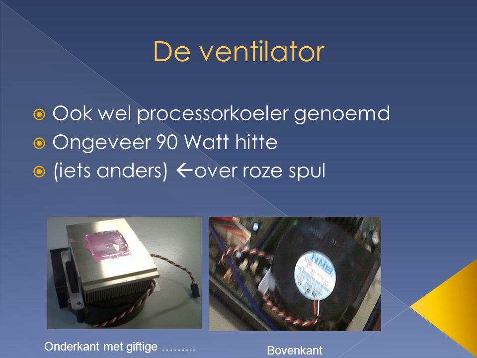  Ook wel processorkoeler genoemd  Ongeveer 90 Watt hitte  (iets anders)  over roze spul Onderkant met giftige ……...
