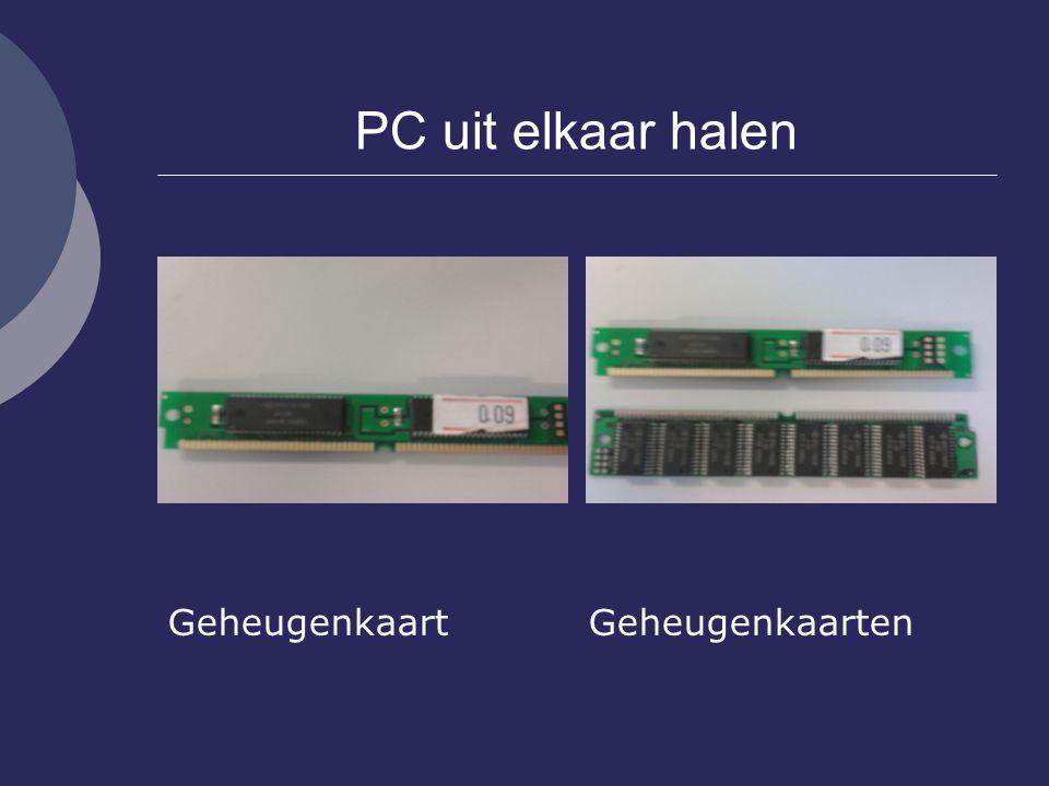 PC uit elkaar halen Geheugenkaart Geheugenkaarten