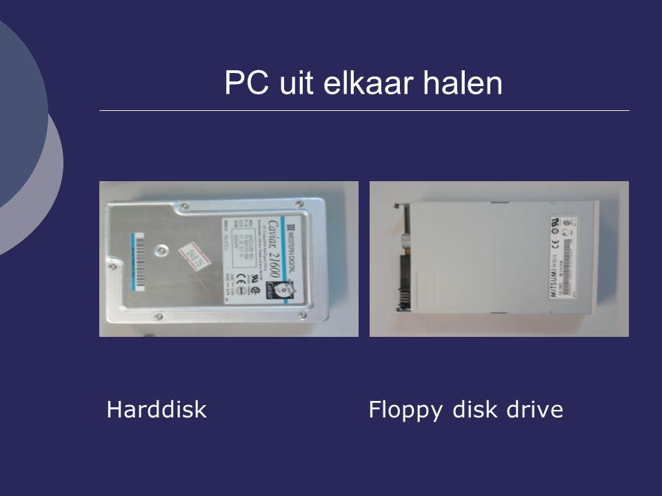PC uit elkaar halen Harddisk Floppy disk drive