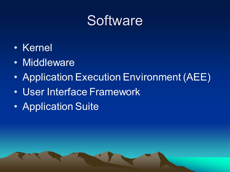 Software Linux OS Symbian OS Windows Mobile OS Java Mac iOS Android