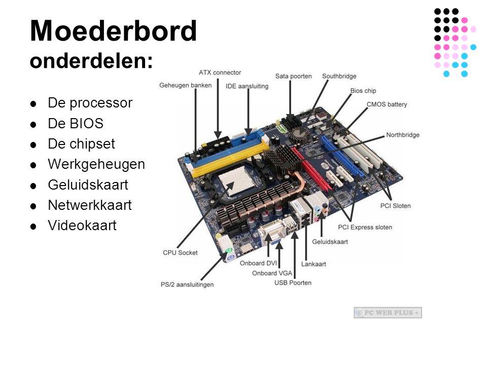 Moederbord onderdelen: De processor De BIOS De chipset Werkgeheugen Geluidskaart Netwerkkaart Videokaart