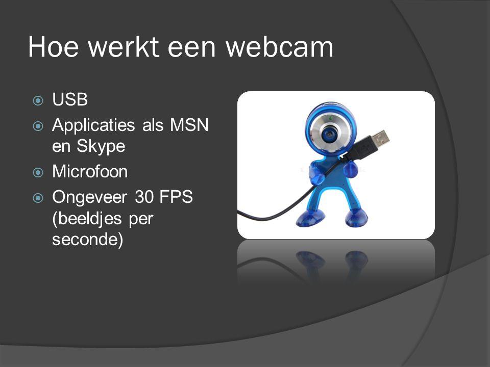 Hoe werkt een webcam  USB  Applicaties als MSN en Skype  Microfoon  Ongeveer 30 FPS (beeldjes per seconde)