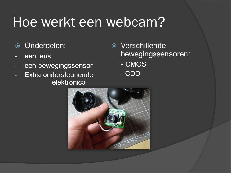 Hoe werkt een webcam?  Onderdelen: - een lens - een bewegingssensor - Extra ondersteunende elektronica  Verschillende bewegingssensoren: - CMOS - CD
