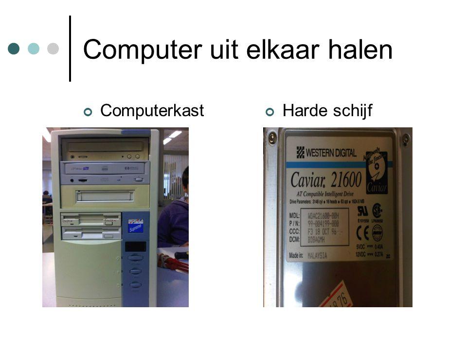 Computer uit elkaar halen ComputerkastHarde schijf