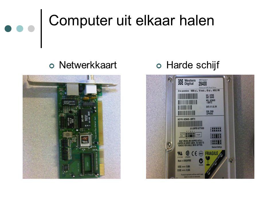 Computer uit elkaar halen NetwerkkaartHarde schijf