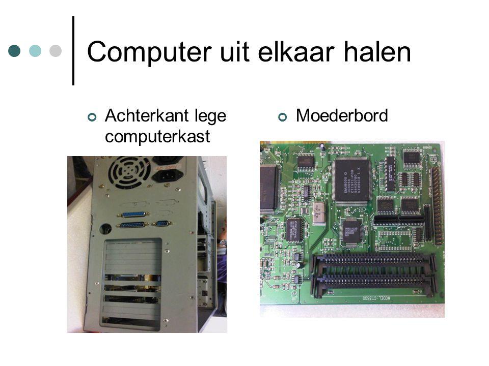 Computer uit elkaar halen Achterkant lege computerkast Moederbord