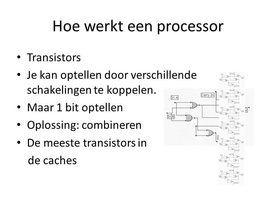 Hoe werkt een processor Transistors Je kan optellen door verschillende schakelingen te koppelen.
